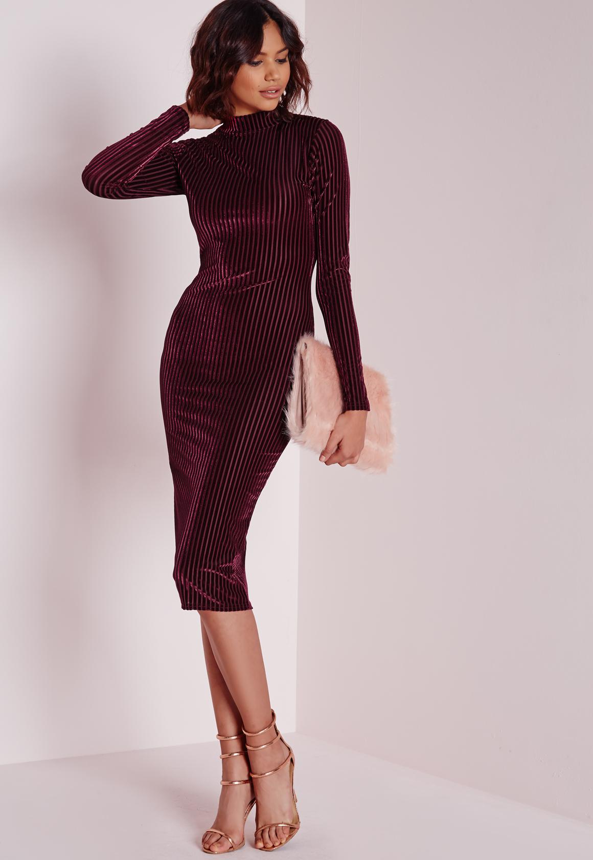 dddc05700aa Lyst - Missguided Velvet Ribbed Long Sleeve Midi Dress Burgundy in ...