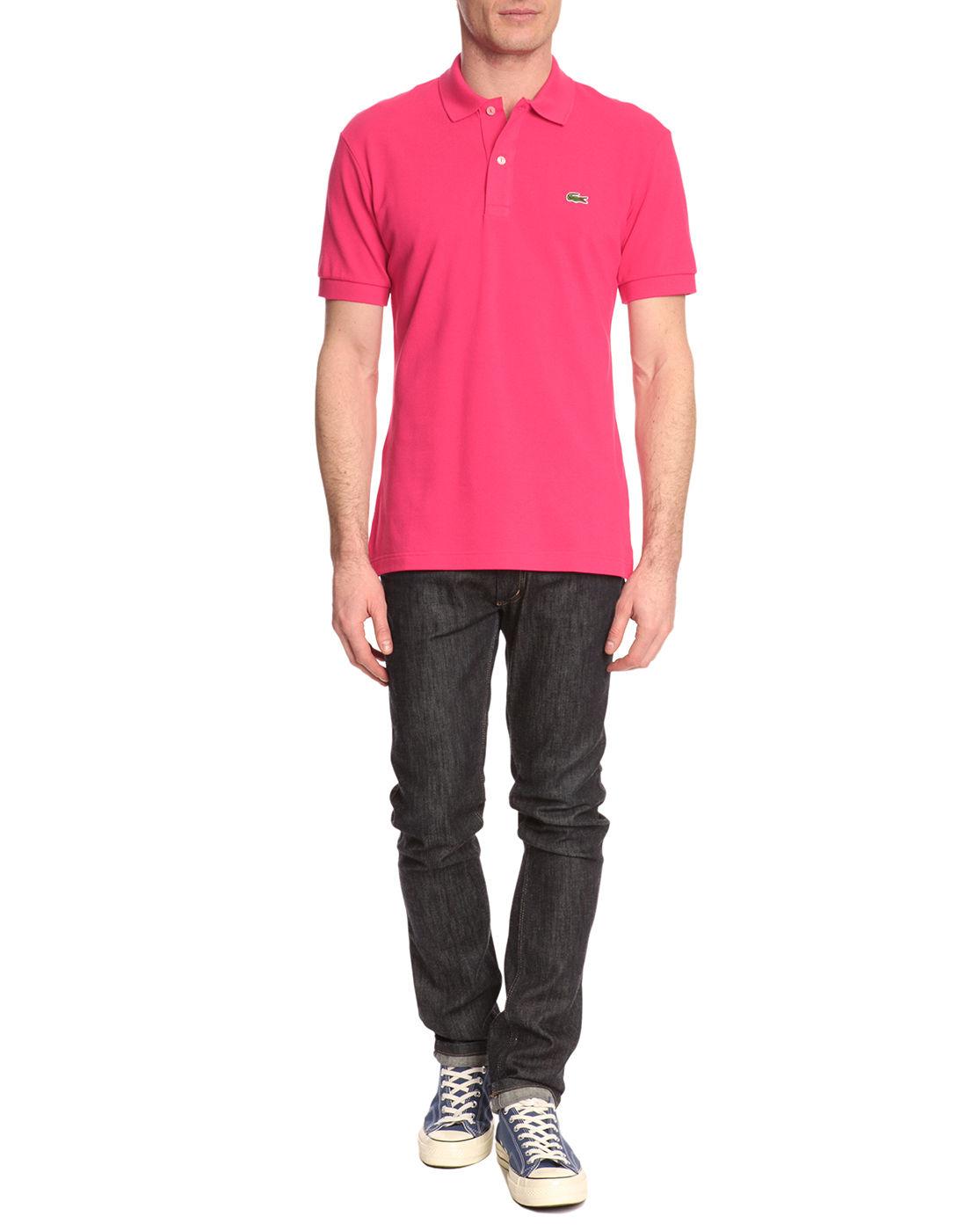 lacoste slim fit shortsleeved pink polo shirt in pink for. Black Bedroom Furniture Sets. Home Design Ideas