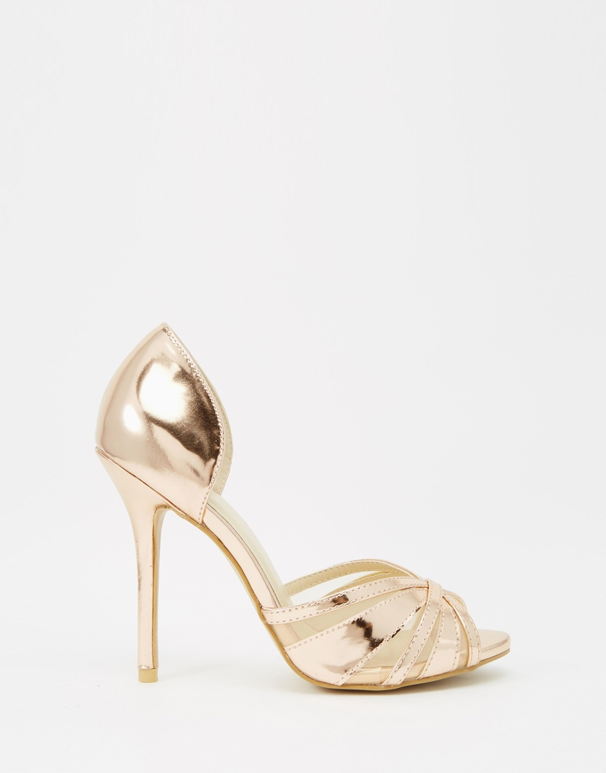 6fbd0c398e2b True Decadence Rose Gold Metallic Ankle Tie Heeled Sandals - Image ...