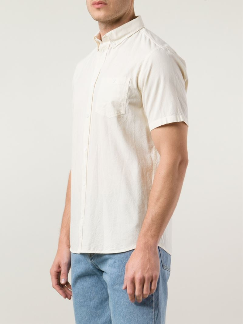 Lyst norse projects short sleeve button down shirt in for Button down shirts for short men