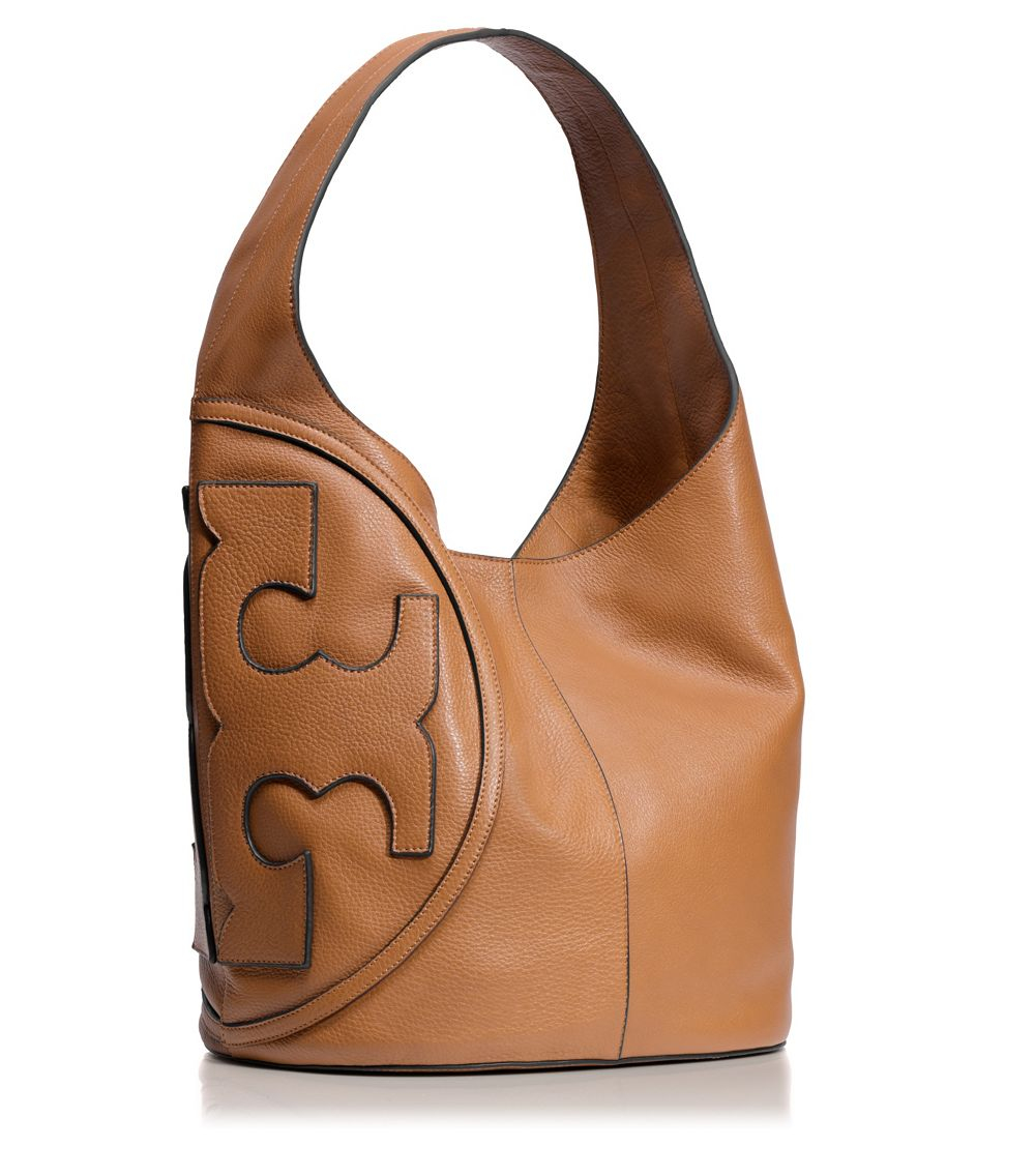 799ba3aa665f Lyst - Tory Burch All T Leather Hobo in Brown