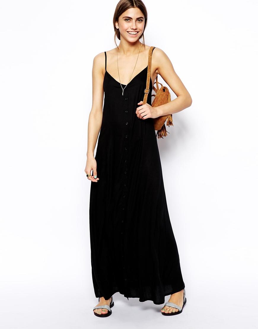 ab1c7e6161 ASOS Button Through Maxi Beach Dress in Black - Lyst