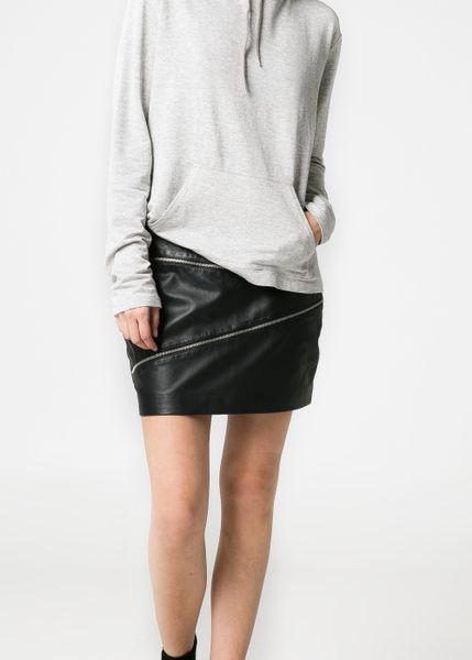 mango zip leather skirt in black lyst
