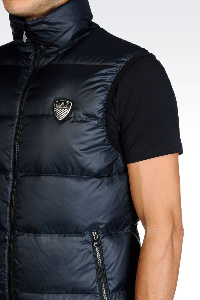 Ea7 Synthetic Windproof And Rainproof Gilet In Dark Blue