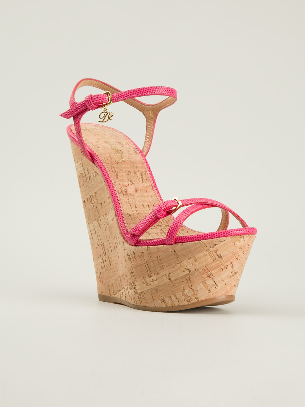 dsquared2 strappy wedge sandals in pink pink amp purple lyst