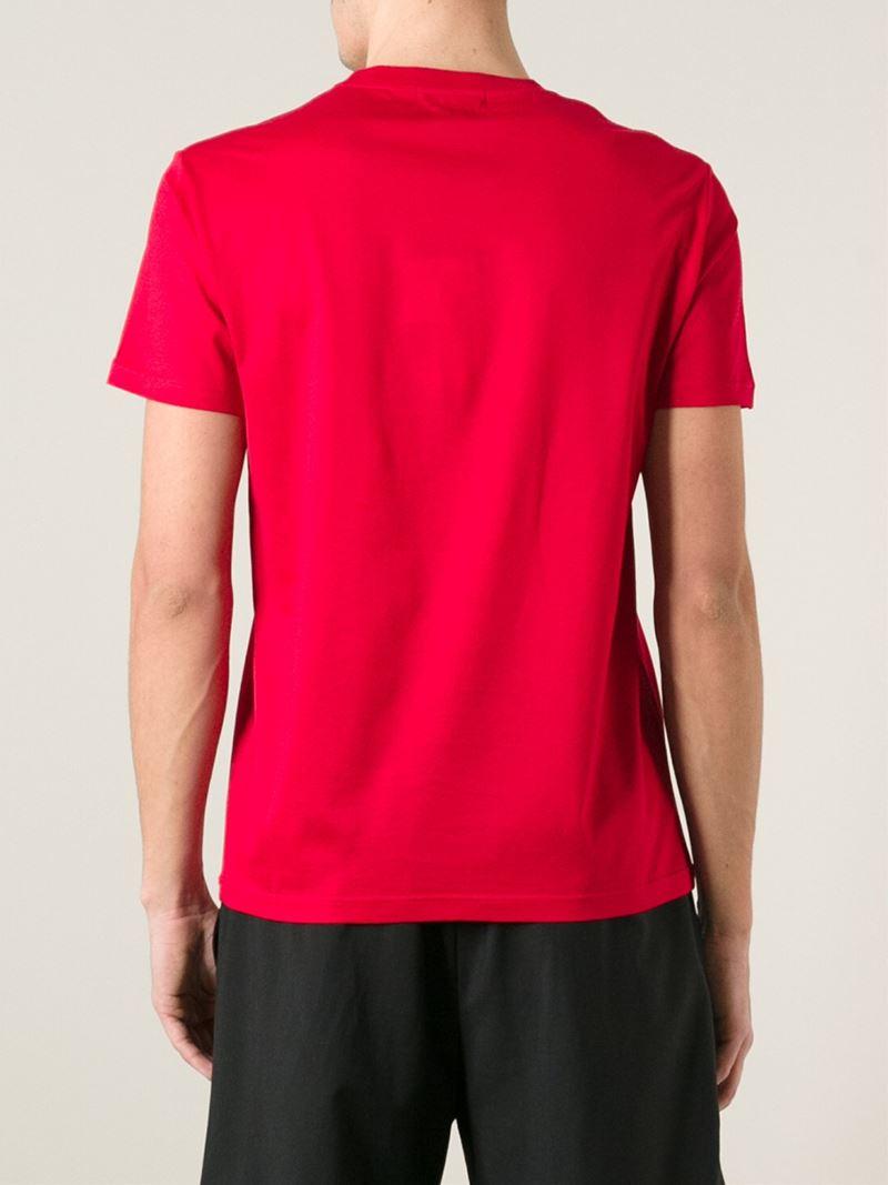 Lyst alexander mcqueen skull print t shirt in red for men for Alexander mcqueen shirt men