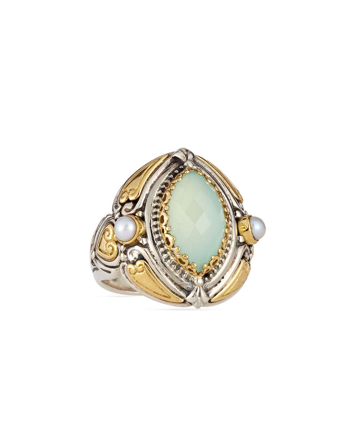 Konstantino Sea Blue Agate Amp Pearl Marquis Ring In Blue Lyst