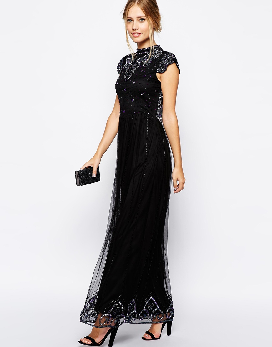 Frock and Frill Embellished High Neck Maxi Dress With Mesh ...
