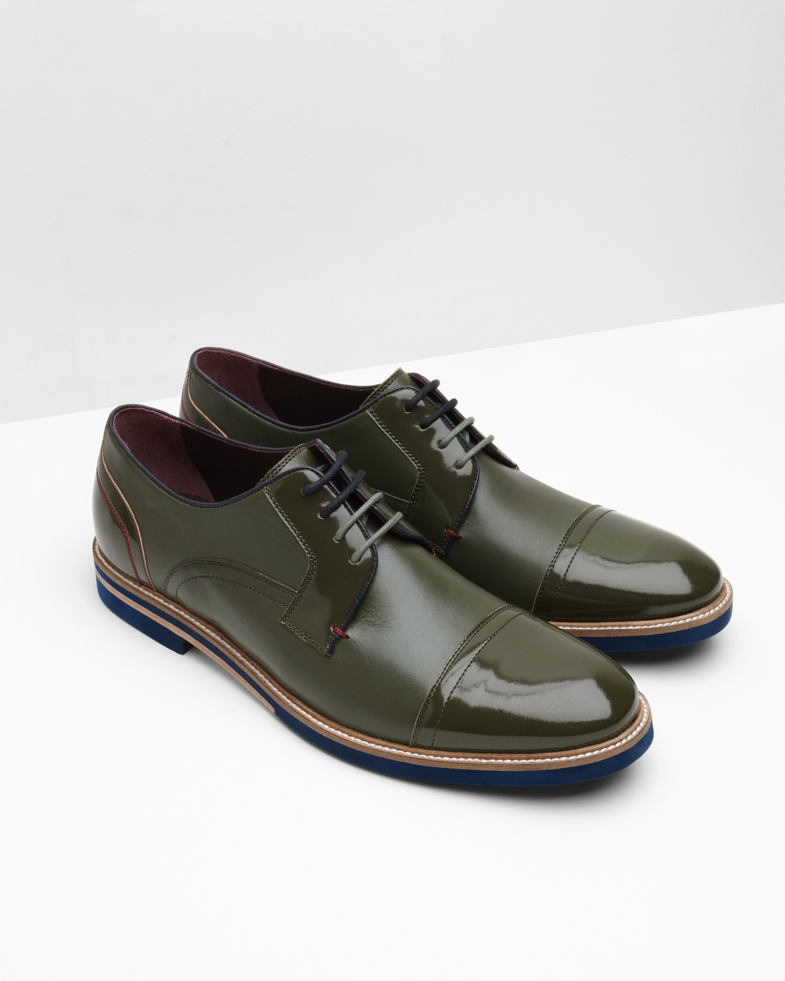 e302767ef Lyst - Ted Baker High-shine Leather Derby Brogues in Green for Men