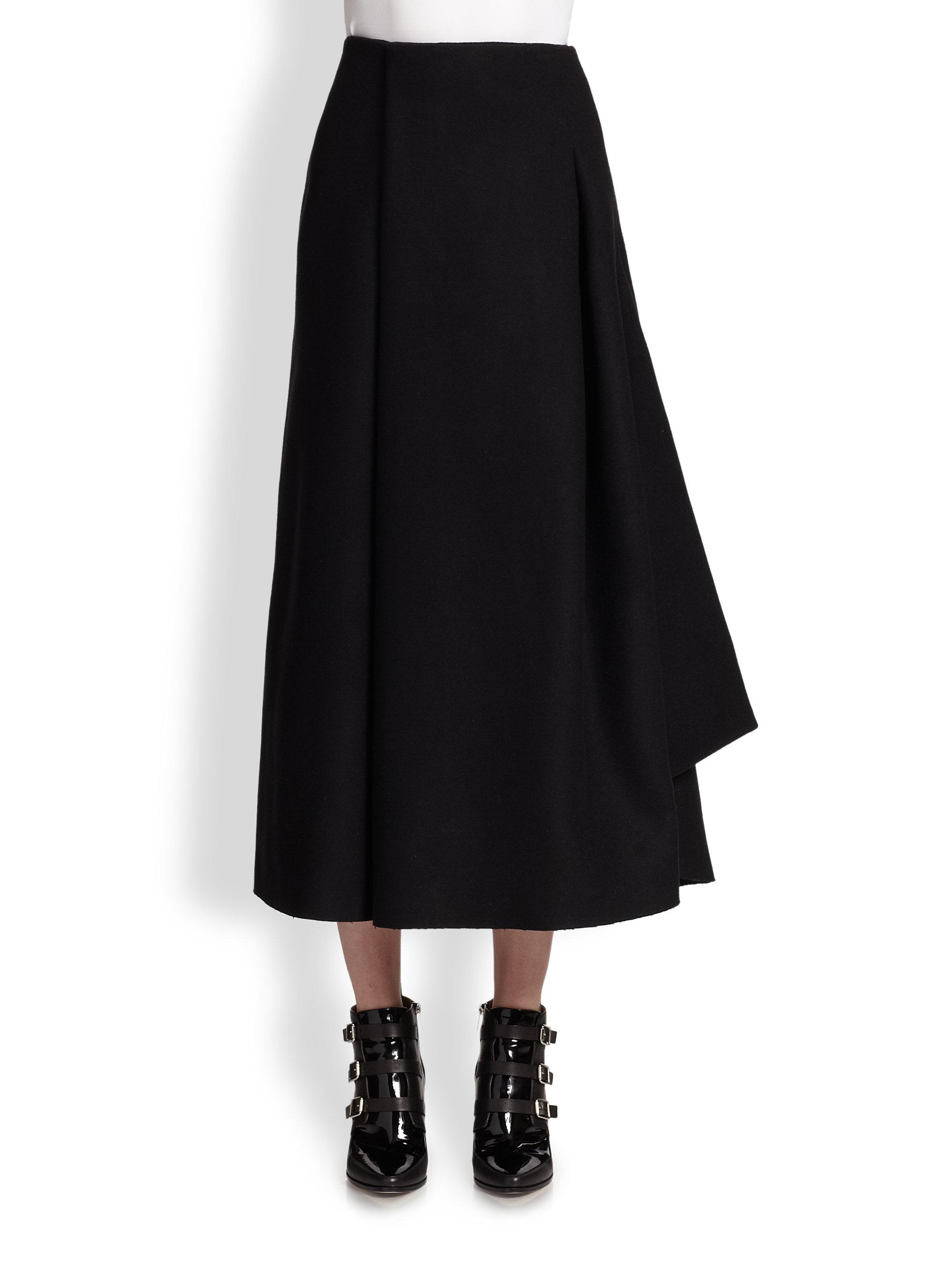 J.w.anderson Wool Sail Midi Skirt in Black | Lyst