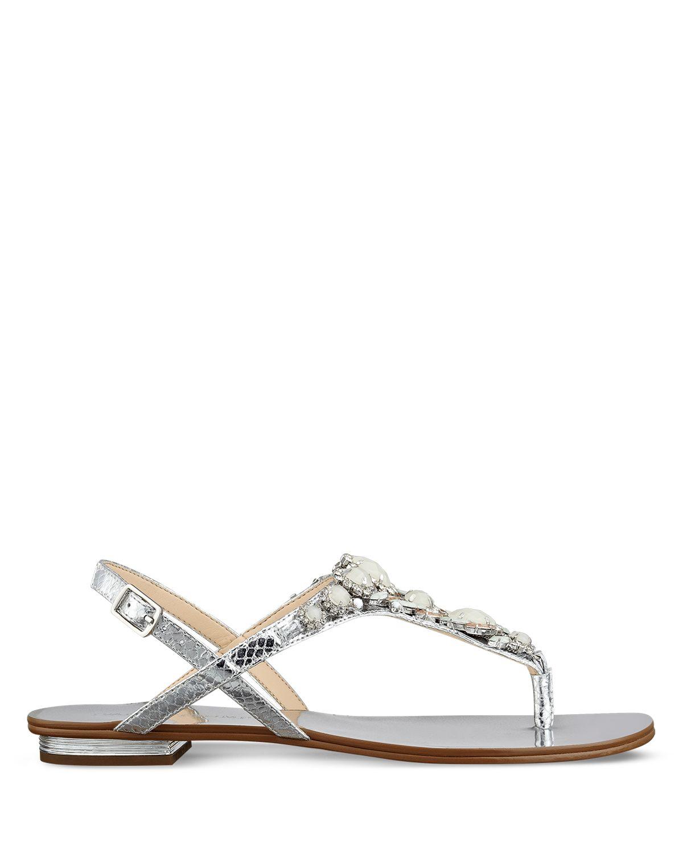c704870f4 Lyst - Ivanka Trump Flat Thong Sandals - Jeweled in Metallic