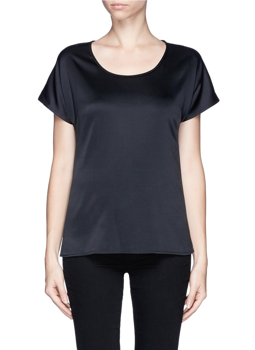 St John Scoop Neck Silk Charmeuse T Shirt In Black Lyst