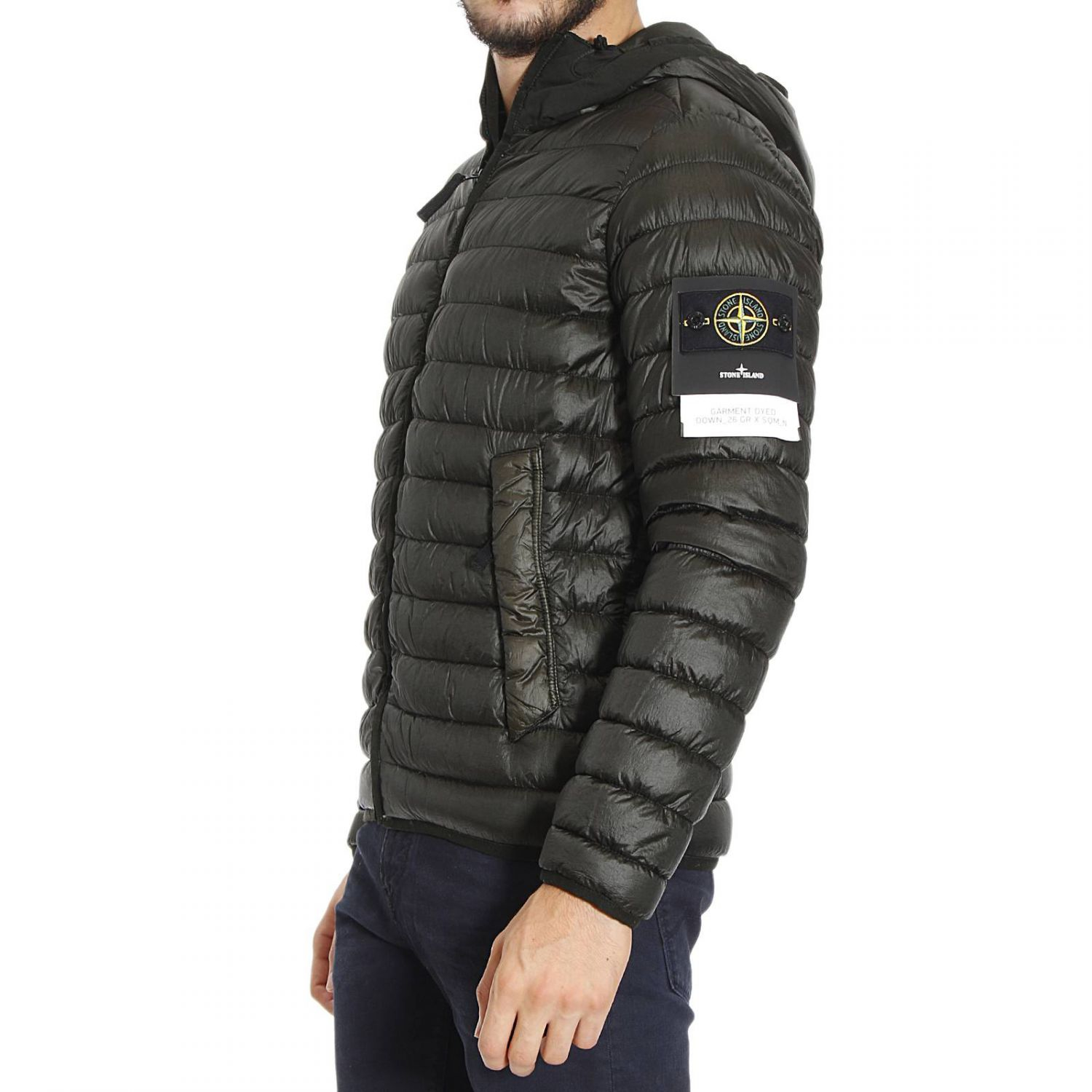 stone island down jacket in green for men lyst. Black Bedroom Furniture Sets. Home Design Ideas