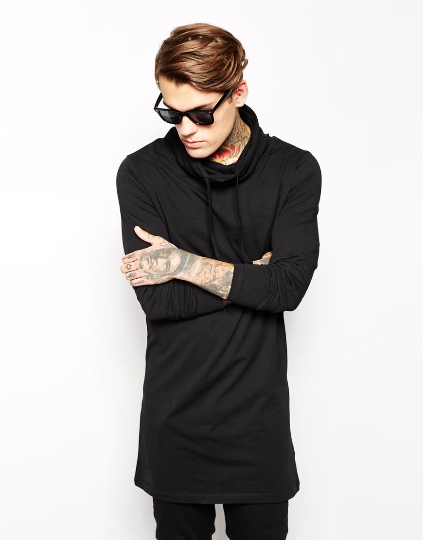 Asos long sleeve t shirt in super longline with cowl neck for Long length long sleeve t shirts