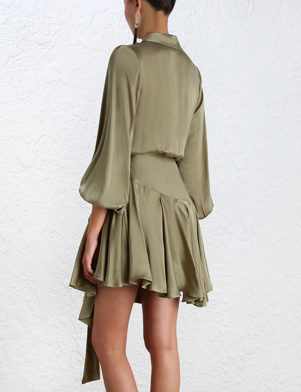 Lyst Zimmermann Empire Sueded Robe Dress In Green