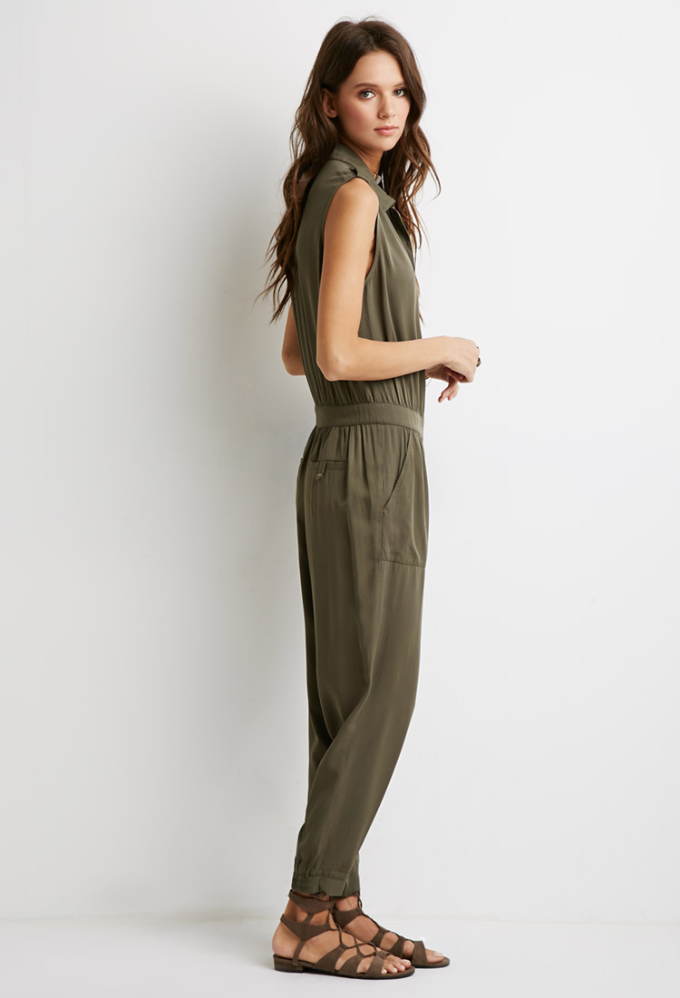 98aad1a92cd8 Lyst - Forever 21 Classic Utility Jumpsuit in Green