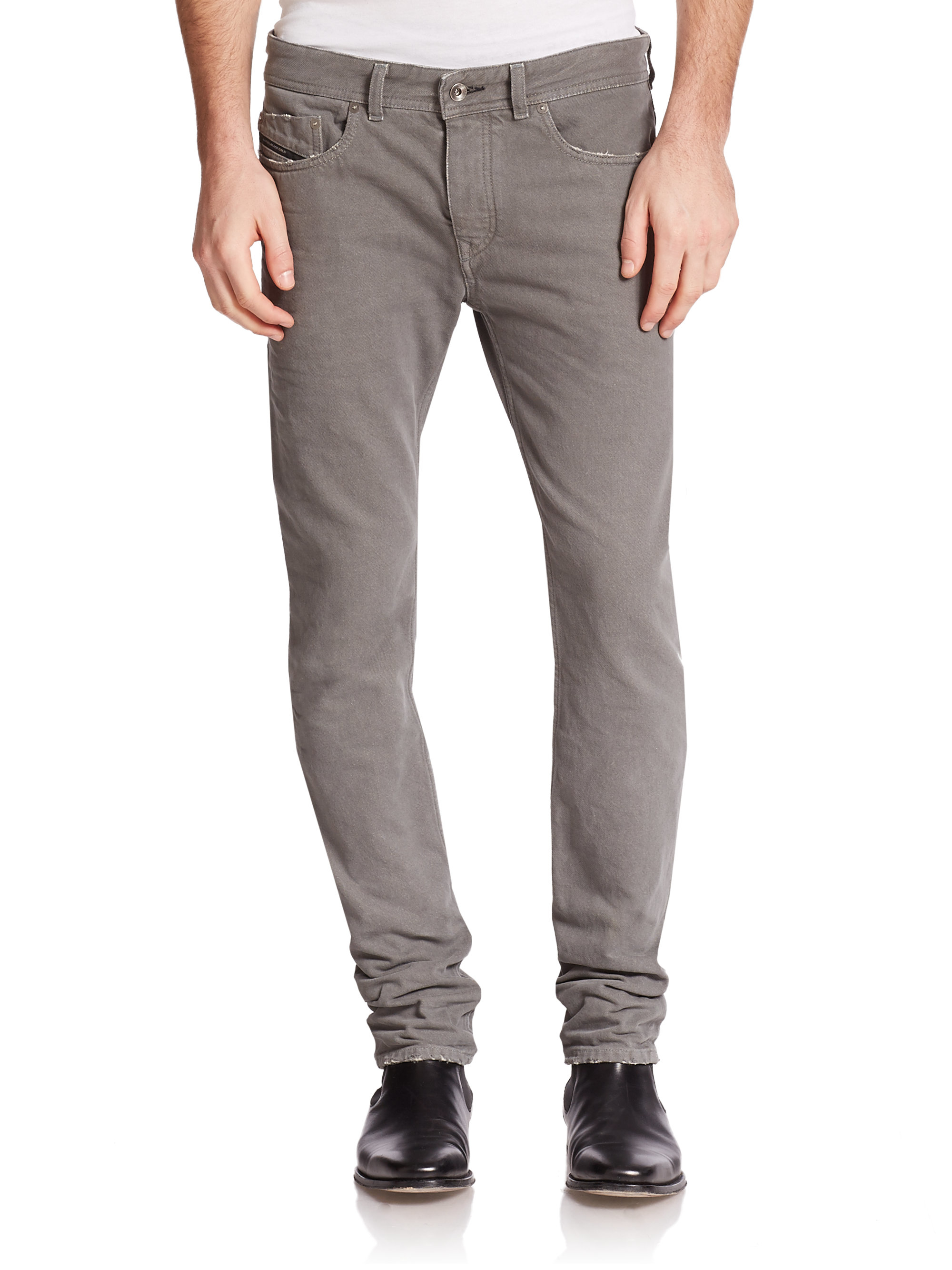 Diesel black gold Distressed Slim-straight Jeans in Gray for Men ...