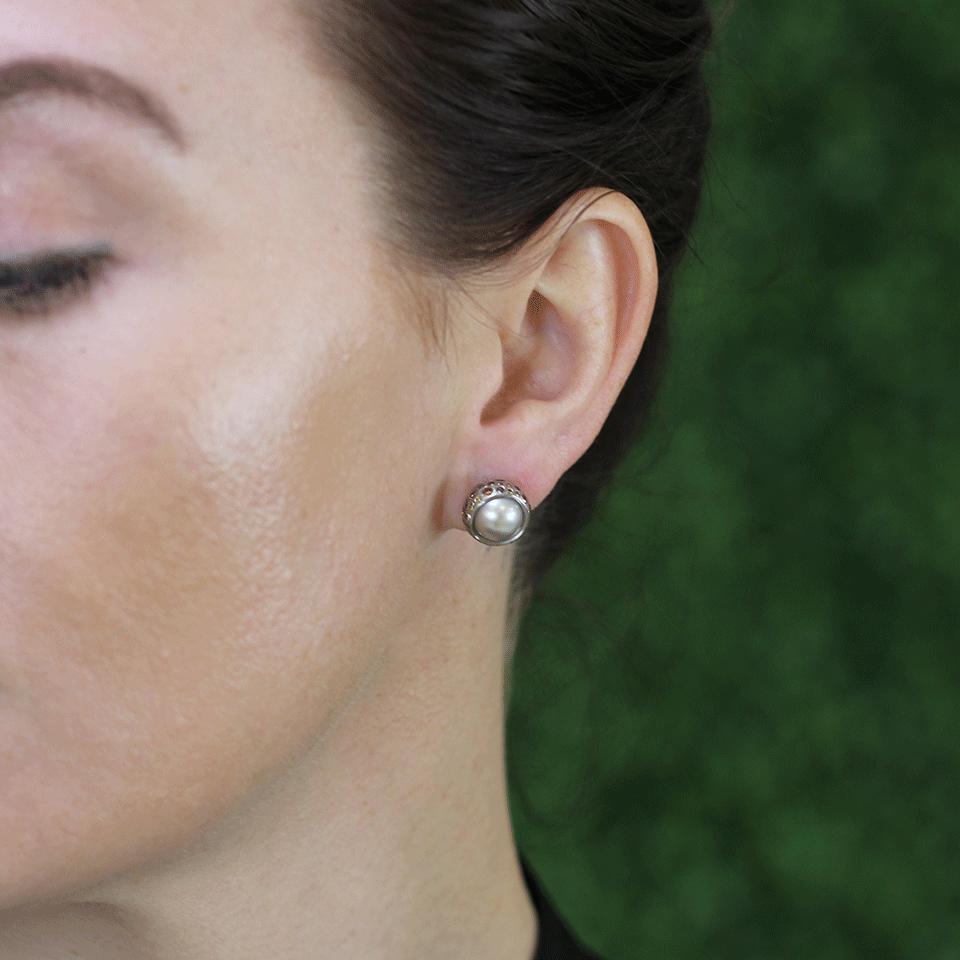 Todd Reed Tahitian Pearl And Diamond Stud Earrings In Silver
