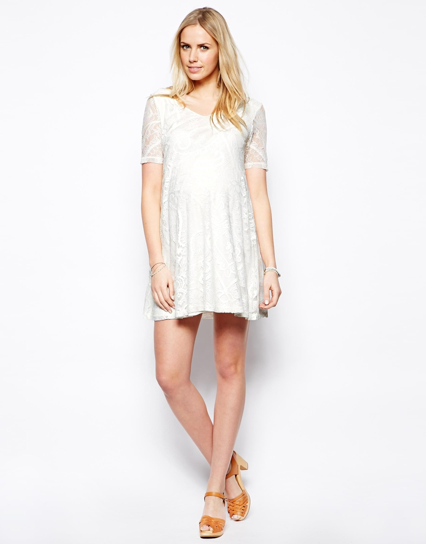 Asos exclusive swing dress in lace with v neck in natural lyst gallery ombrellifo Gallery