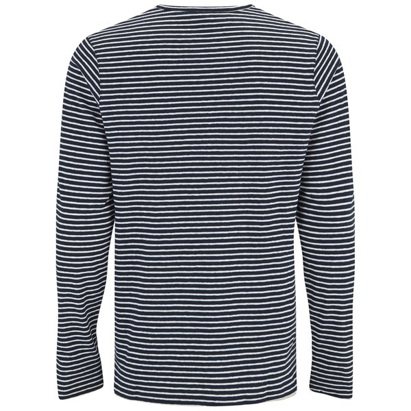 A p c men 39 s breton stripe long sleeve t shirt in blue for for Navy blue striped long sleeve shirt