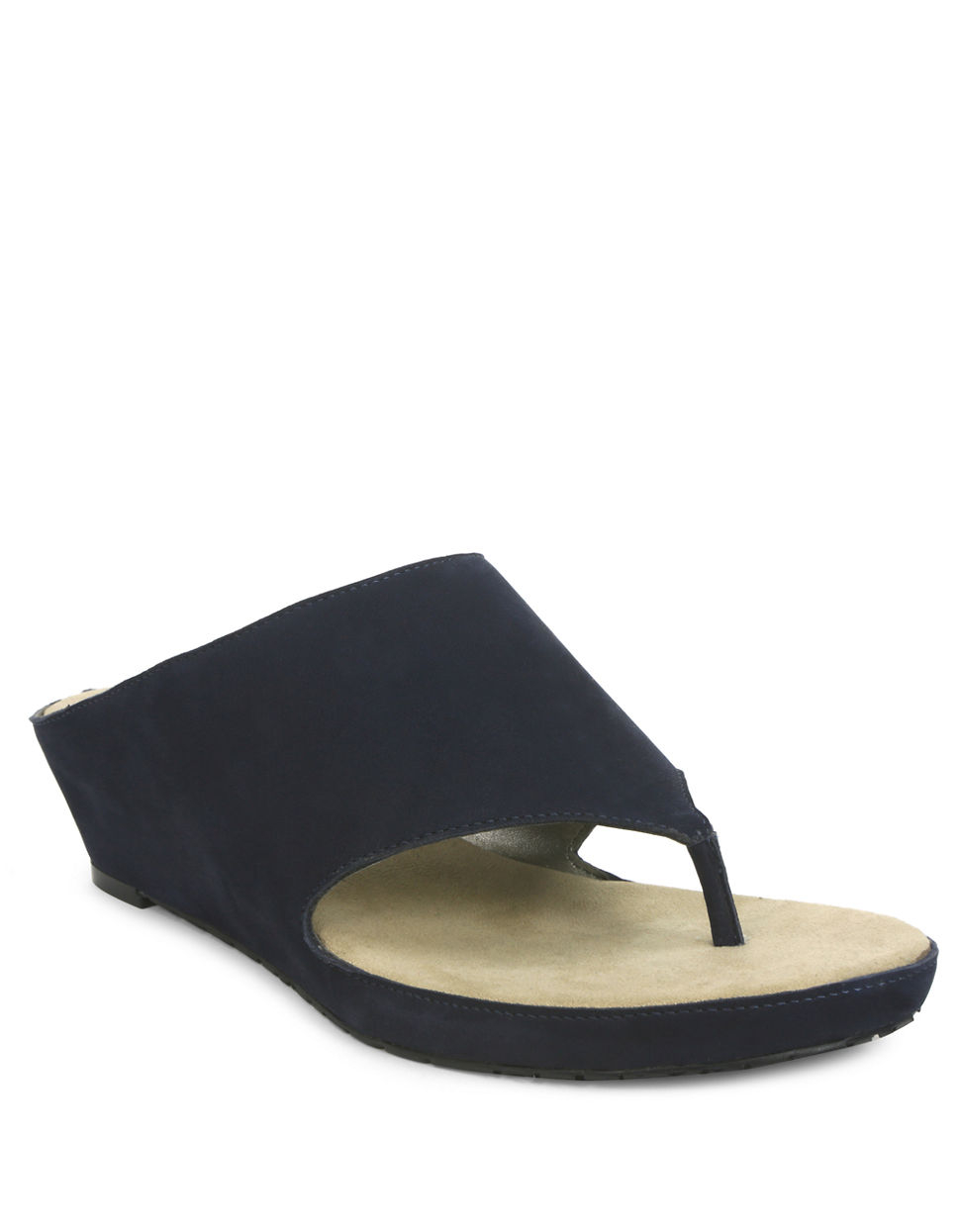 tahari leather slide wedge sandals in blue lyst