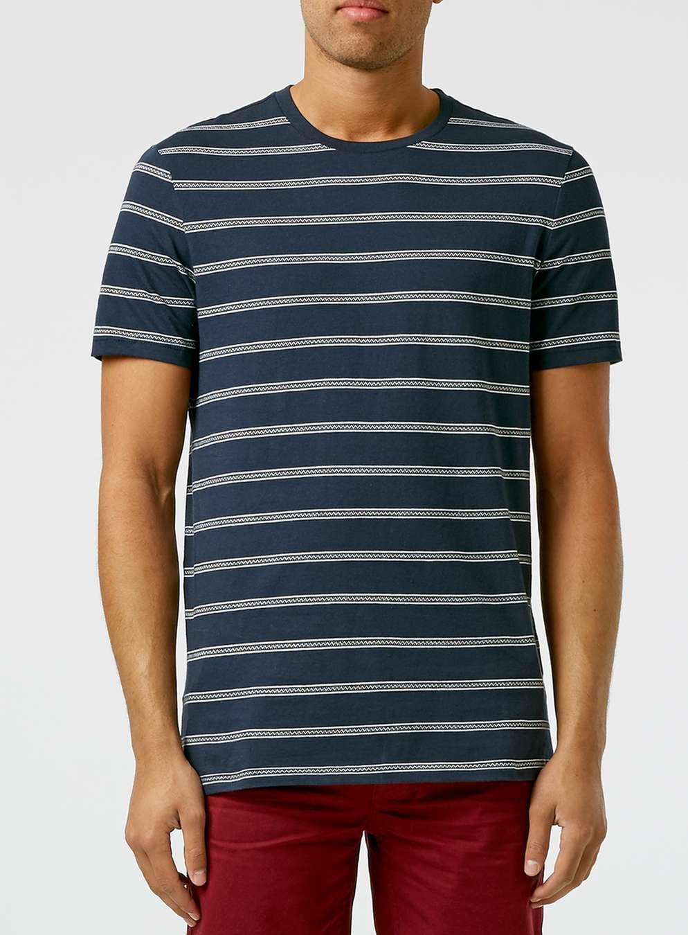 Topman navy white slim stripe t shirt in white for men for Blue white striped t shirt mens