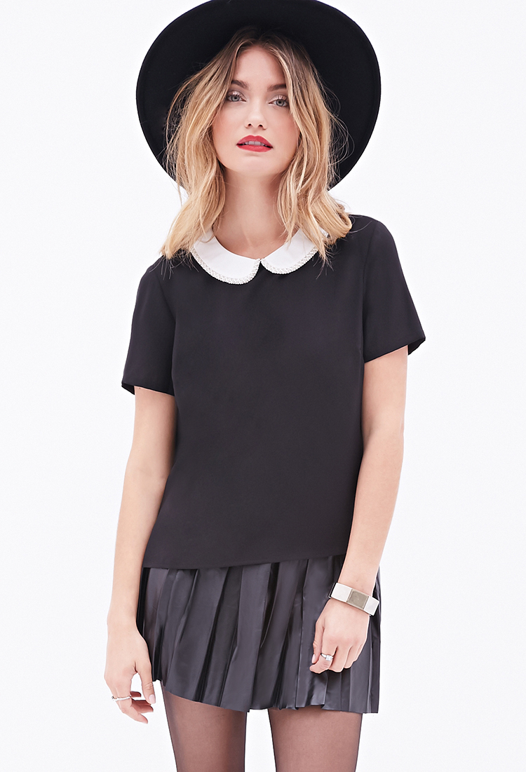 Lyst Forever 21 Contemporary Beaded Peter Pan Collar Blouse In Black