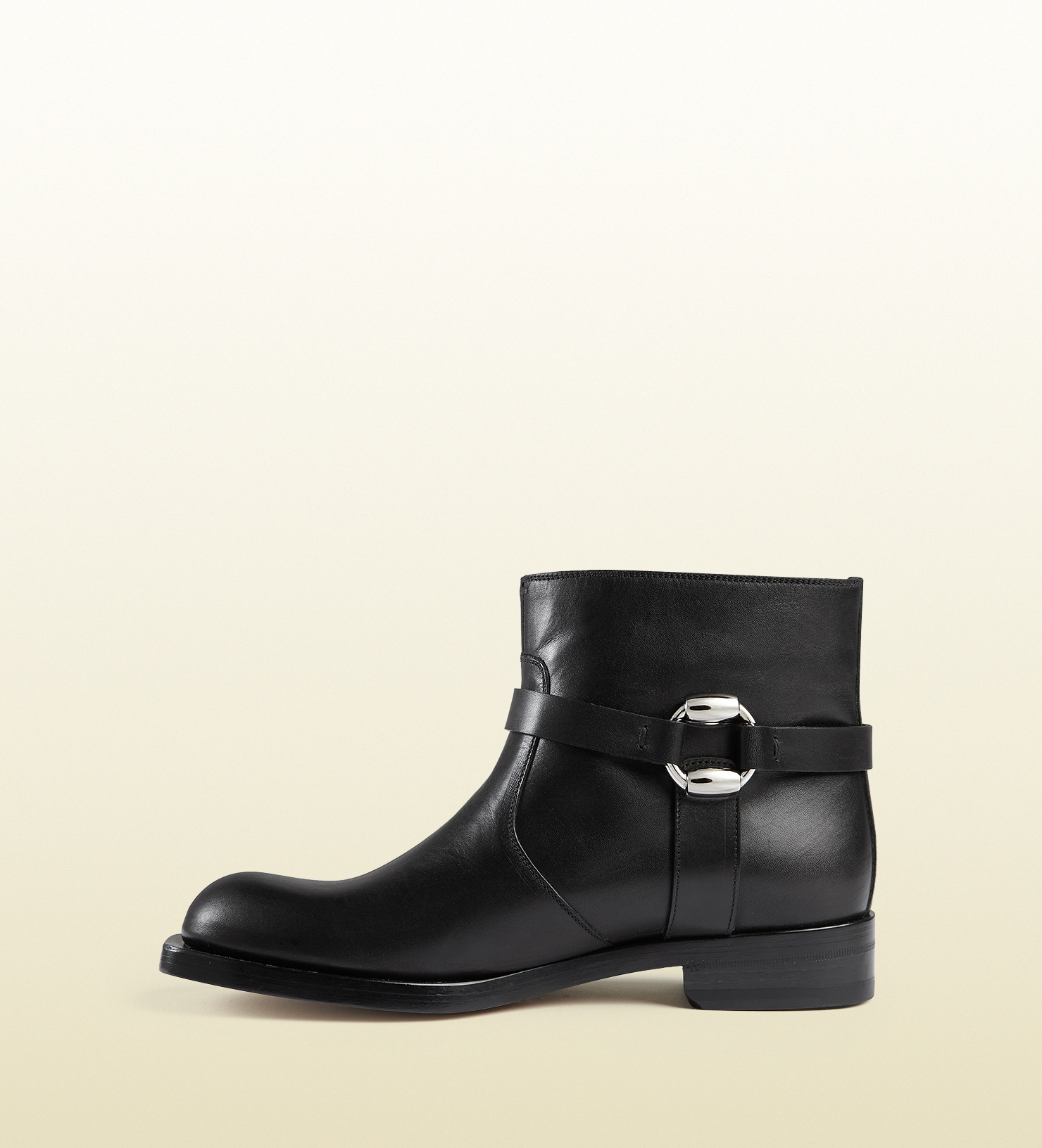 lyst gucci leather biker boot in black for men
