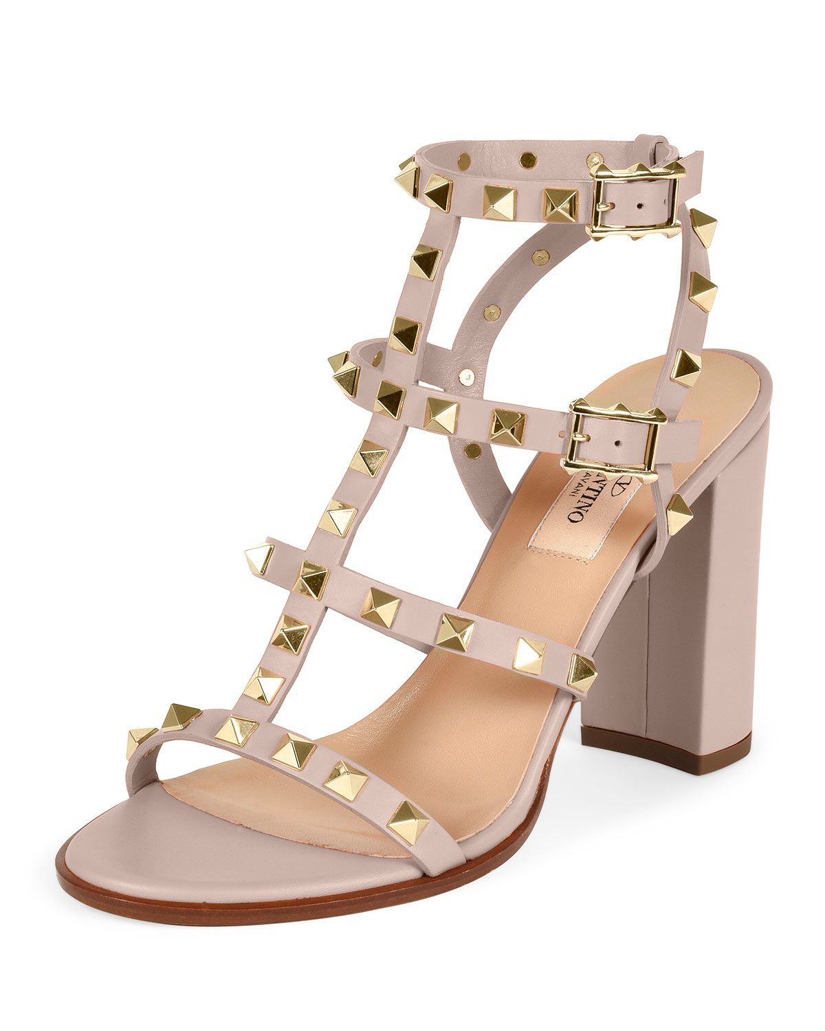 3769629a309 Lyst - Valentino Rockstud Leather Sandals in Pink