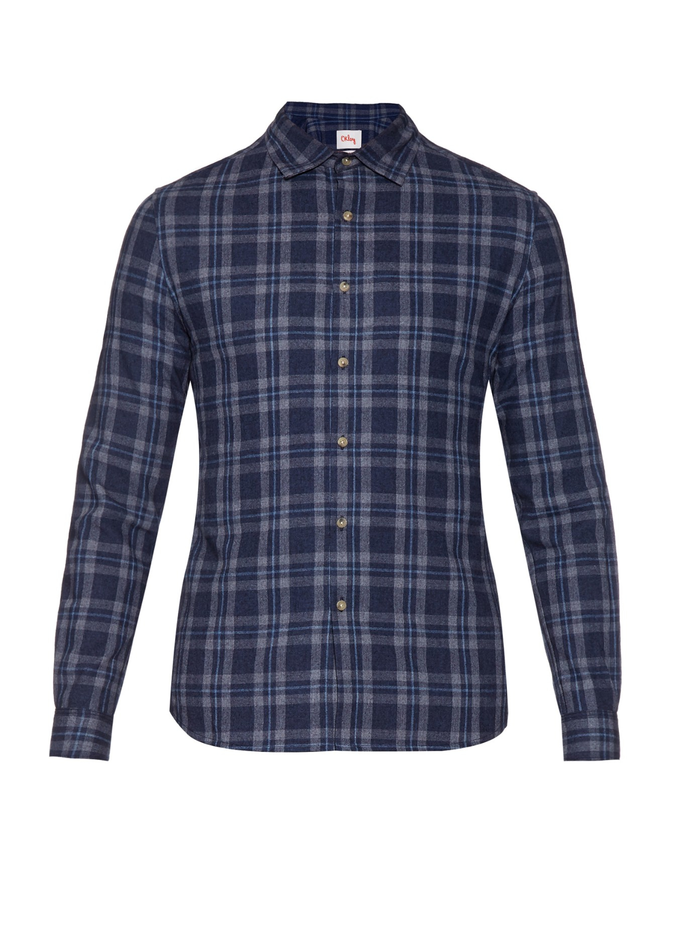 orley asa checked cotton wool and cashmere blend shirt in