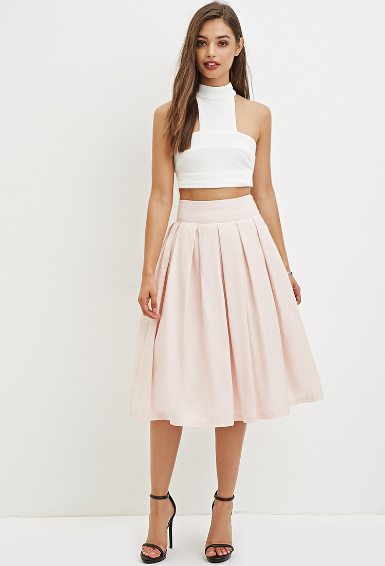 forever 21 pleated a line skirt in pink lyst
