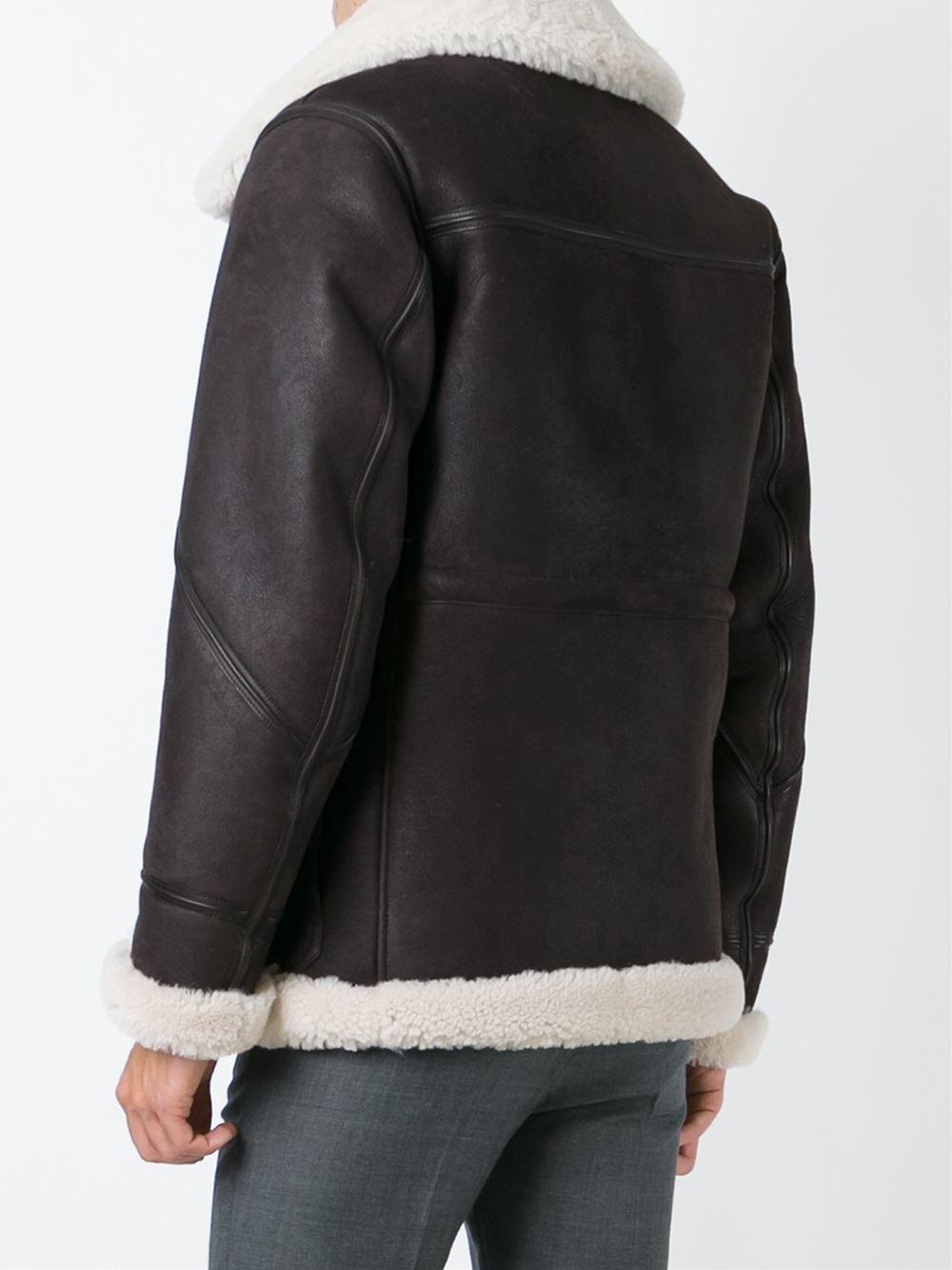 Burberry Brit Shearling Aviator Jacket in Black for Men