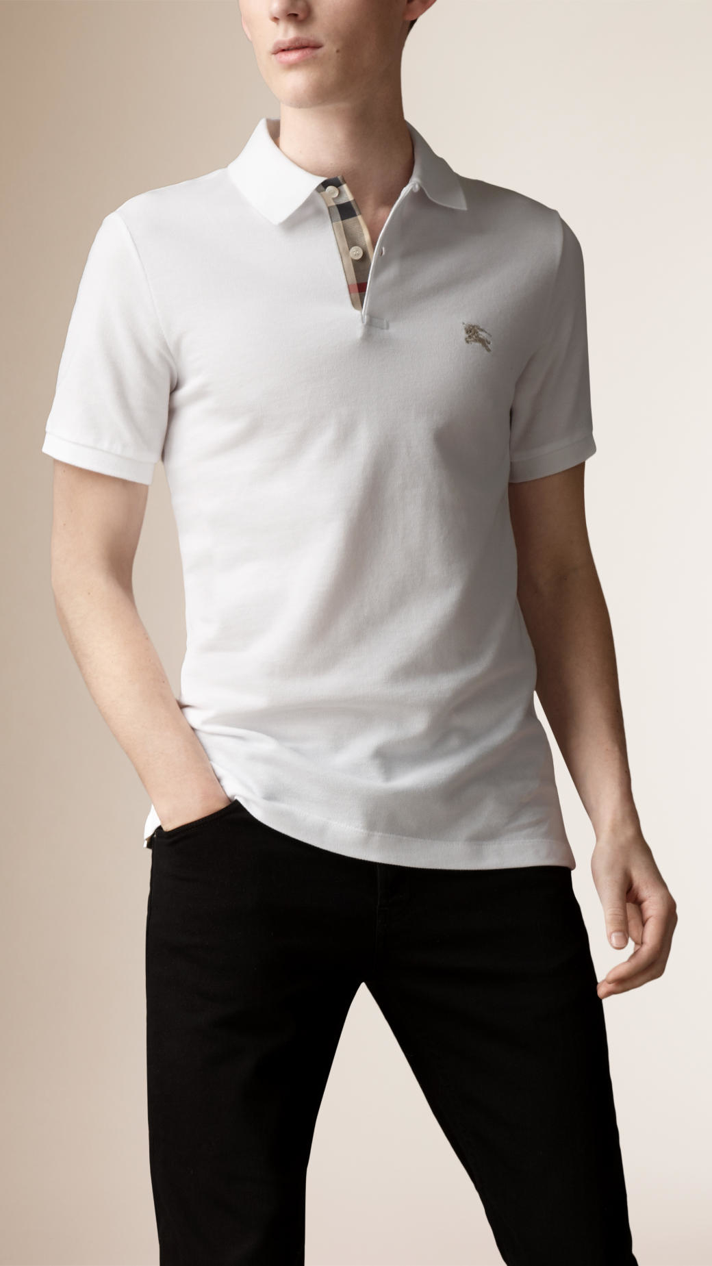 burberry check placket polo shirt in white for men lyst