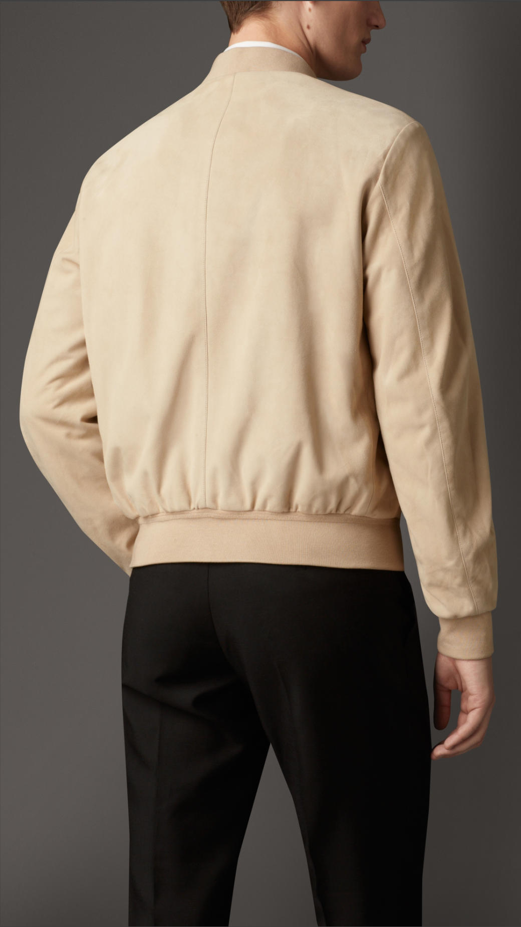 Burberry Suede Bomber Jacket in Stone (Natural) for Men
