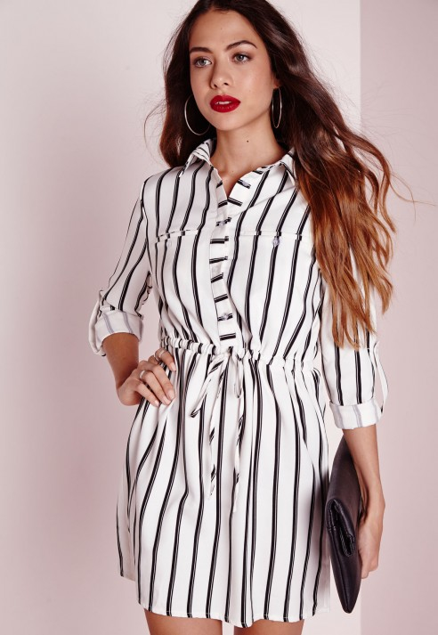 fbac59bd28d4 Lyst - Missguided Drawstring Waist Shirt Dress White Stripe in Black