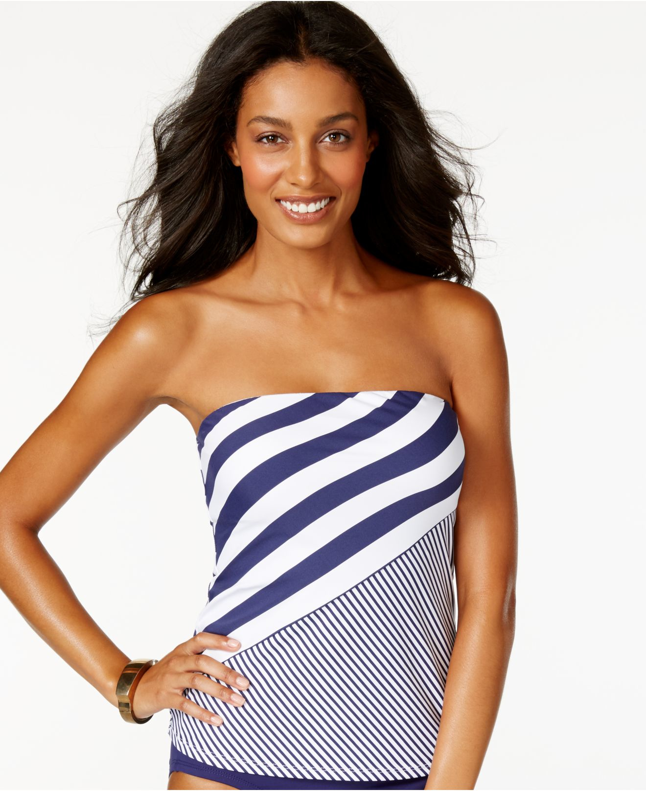 anne cole striped bandeau tankini top in blue navy lyst. Black Bedroom Furniture Sets. Home Design Ideas