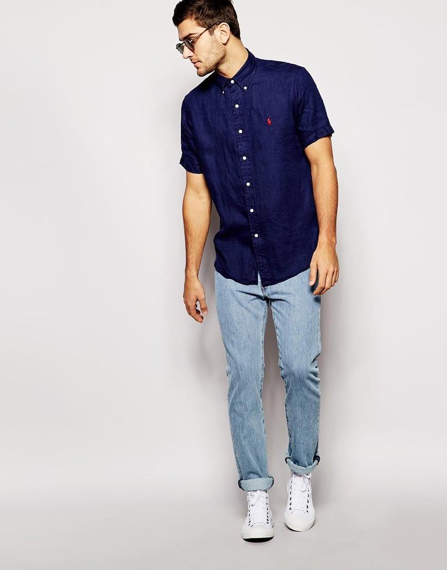 Dark Blue Short Sleeve Shirt .