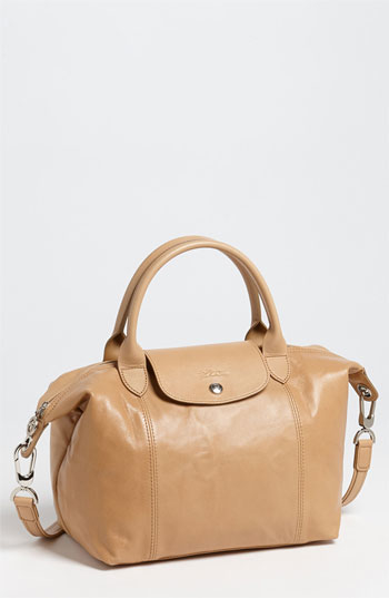 Longchamp Le Pliage Cuir Leather Shoulder Bag In Natural