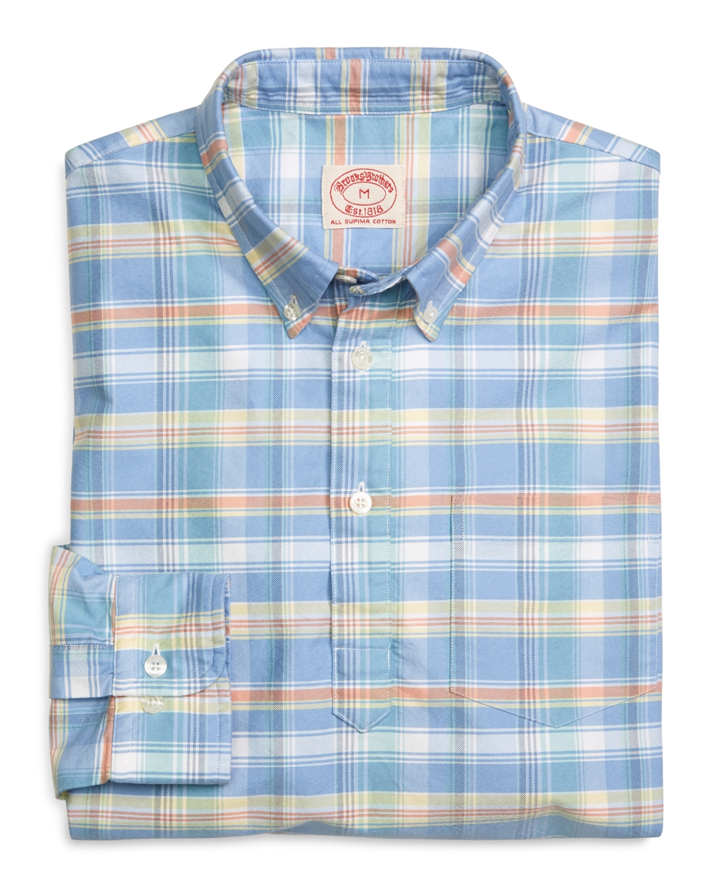 Lyst brooks brothers multiplaid oxford sport shirt in for T shirt printing oxford