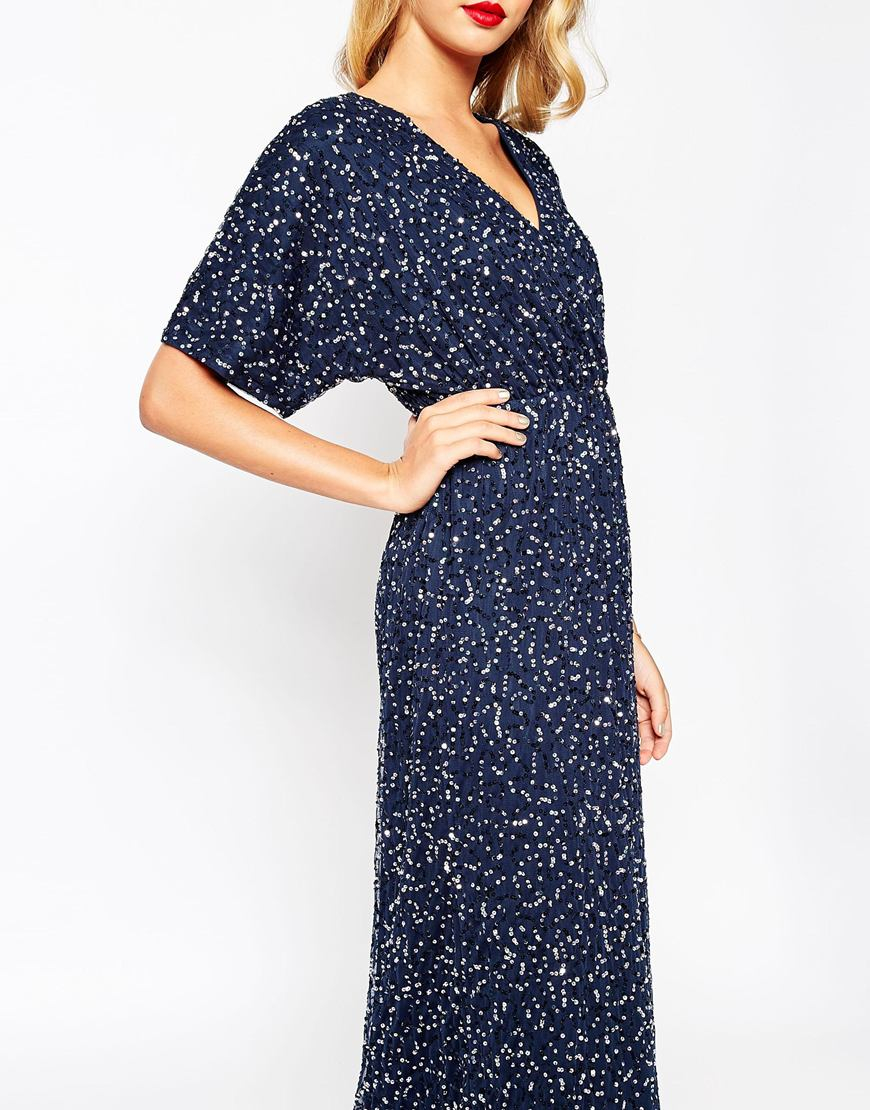 Asos Synthetic Sequin Kimono Maxi Dress In Pink Lyst