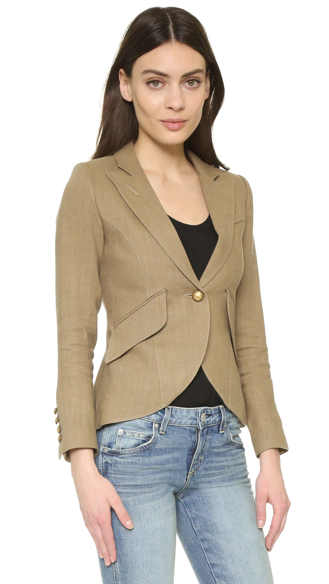 Smythe one button blazer in brown lyst for Smythe designer