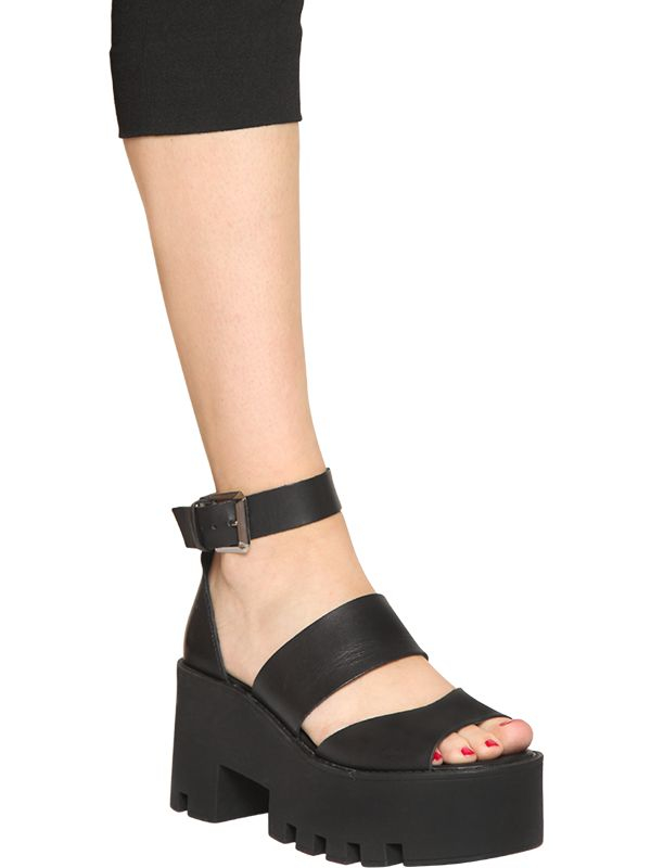 Windsor Smith 80mm Puffy Leather Platform Sandals In Black