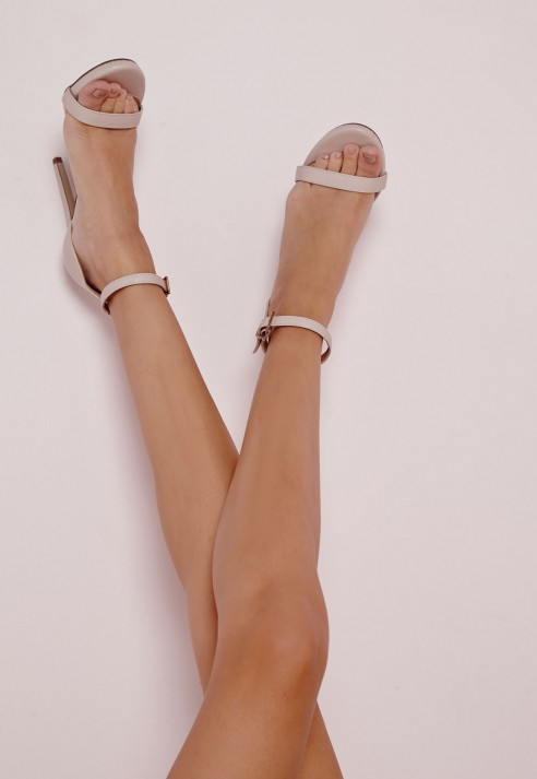 11260b0b9dee Missguided Barely There Heeled Sandals Nude in Natural - Lyst