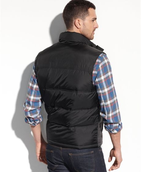 Tommy Hilfiger Mixed Media Puffer Vest In Gray For Men