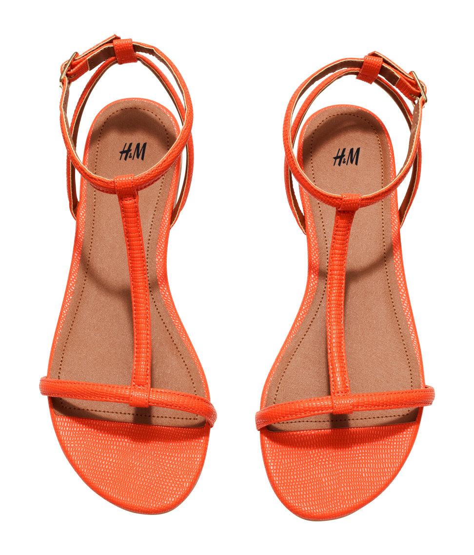 Orange Strappy Heels - Is Heel