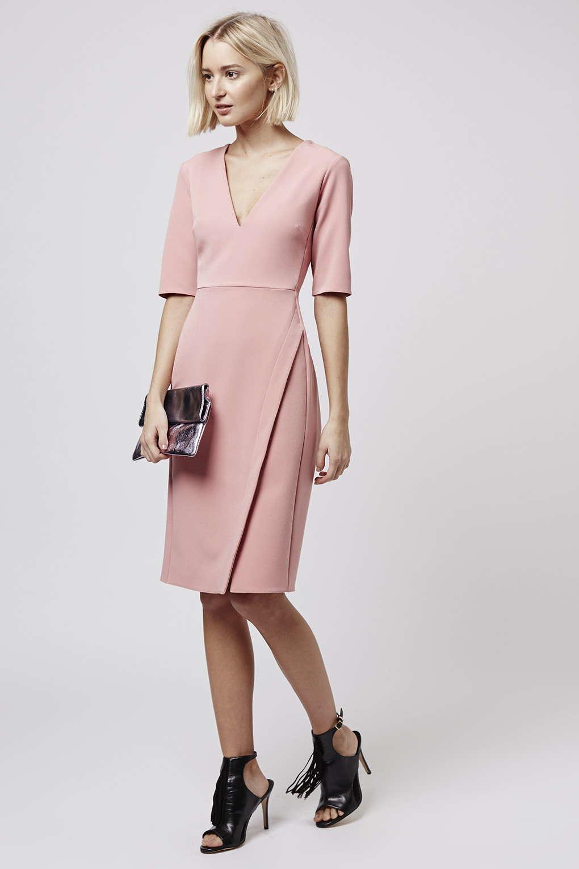 Topshop Wrap Midi Dress in Pink | Lyst