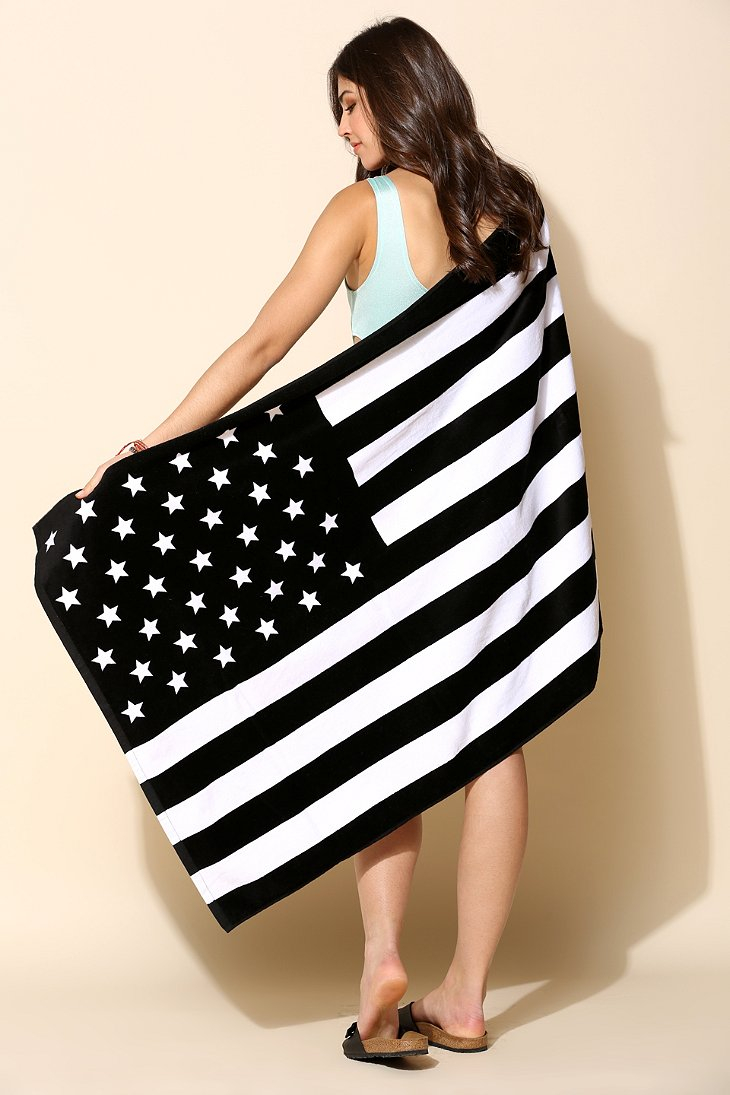 Urban Outfitters American Flag Beach Towel In Black
