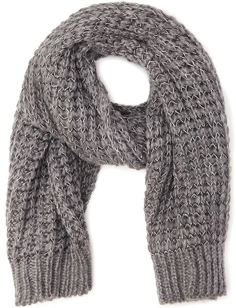 Loose Knit Scarf Pattern Free : Forever 21 Loose Knit Oblong Scarf in Gray (Grey/black) Lyst