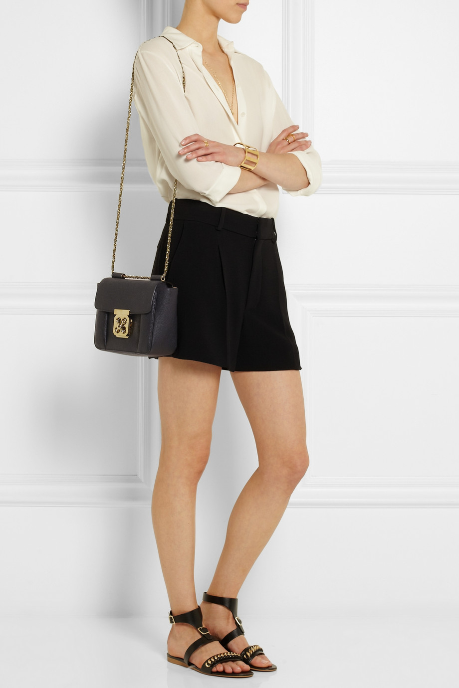 Chlo¨¦ Elsie Small Textured-Leather Shoulder Bag in Black | Lyst