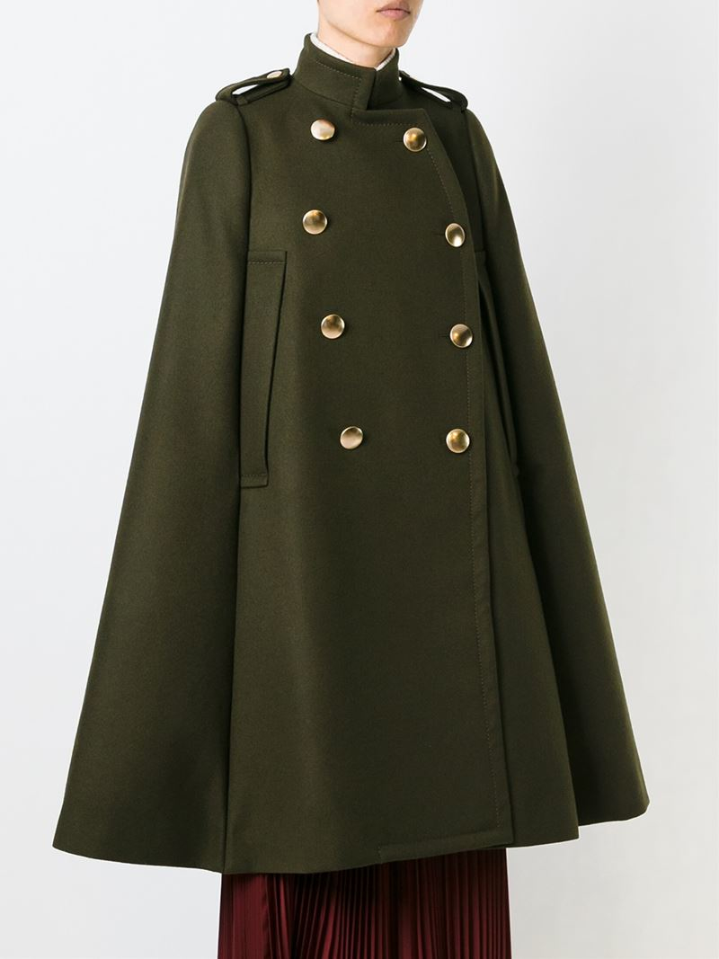 Sacai Luck Military Style Cape Coat In Green Lyst